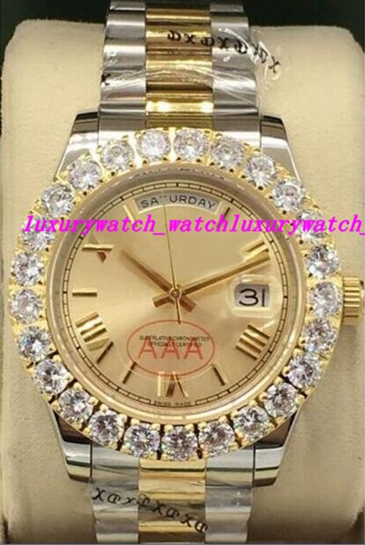 Luxury Watches 3 Style Two Tone Bigger Diamond Watch 18K Gold 41mm Roman Dial Automatic Fashion Brand Men's Watch Wristwatch