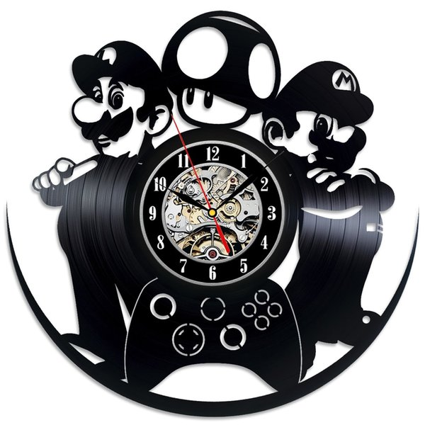 best selling diy gift for clock change 2018 Mario Luigi Game Vinyl Record Clock Wall unique design Art Home Decor