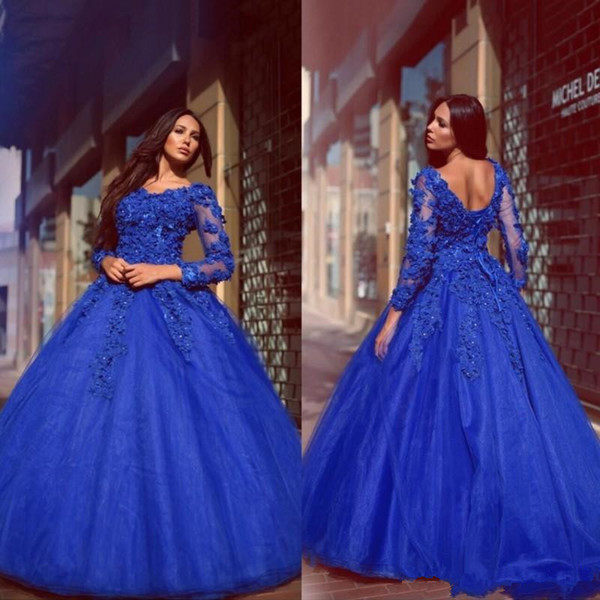 2018 3D floral Off Shoulder Prom Dresses 2018 Plus Size Royal Blue Lace Applique Dubai Arabic Long Sleeve Occasion Evening Wear Gowns