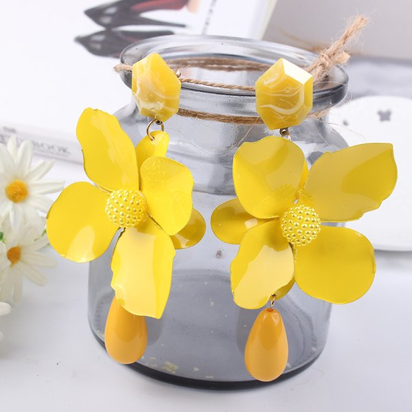 LUBOV Fashion Big Flowers Drop Earrings Jewelry Earrings for Women Dangle Pendant Statement Bohemian Wedding Gift