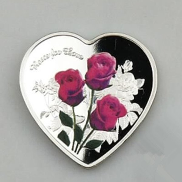 100 pcs Non magnetic The 2019 Forever love heart shaped rose Lover gift badge silver plated 40 mm souvenir commemorative decoration coin