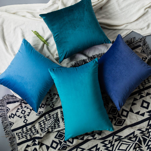 45cm*45cm Solid Color Velvet Fabric Back Cushion Include Cover And Polypropylene Cotton Core 27 Colors 1pc/bag Drop Shipping