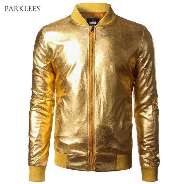 Neue Trend Metallic Gold Bomberjacke Männer / Frauen Veste Homme 2016 Nachtclub Mode Slim Fit Reißverschluss Baseball Varsity Jacke