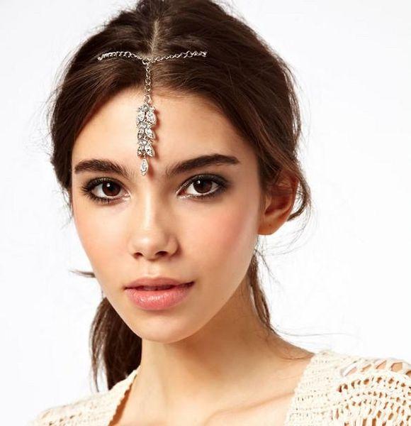 Chic Butterfly Head Chain Womens Rhinestones Silver Tone Forehead Dance Headbands Forehead Headband Piece