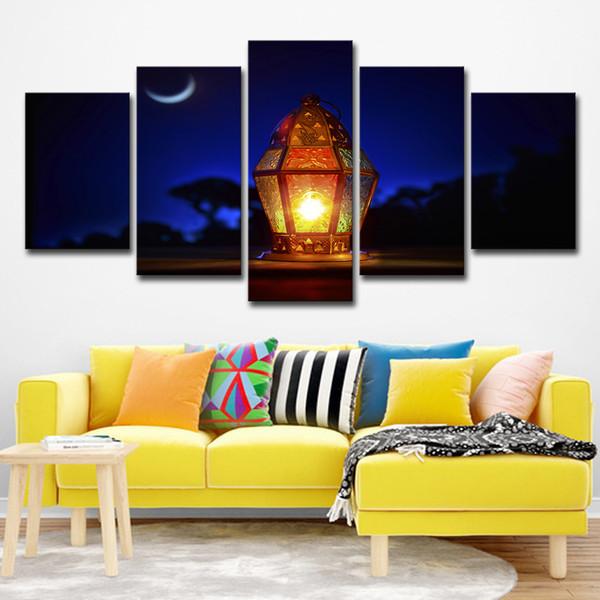 Stampe su tela Wall Art Painting Room Modular Moon Pictures 5 pezzi islamico lampada musulmana Poster Home Decor