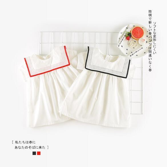 girls dress 2018 hot selling INS summer new Korean style girls short sleeve Navy wind Lapel dress cute 100% cotton dress 2 colors
