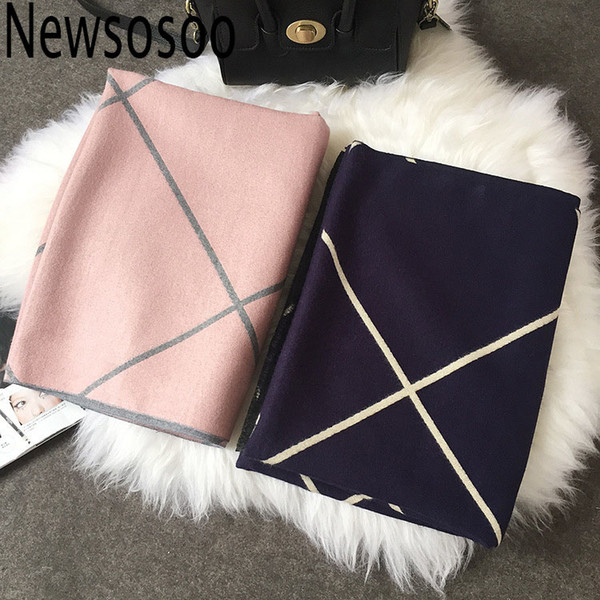 winter style Design Shawls Scarves for Women Plaid Luxury Scarf Winter Brand Square Soft Cashmere stripe lady Women pink Scarf D18102406
