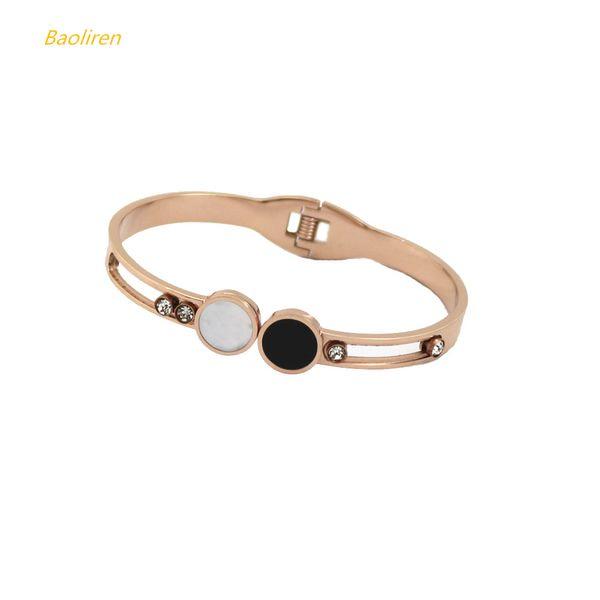Baoliren Women's Costume Titanium Steel Jewelry Movable Zircon Black White Shell Spring Cuff Bangle