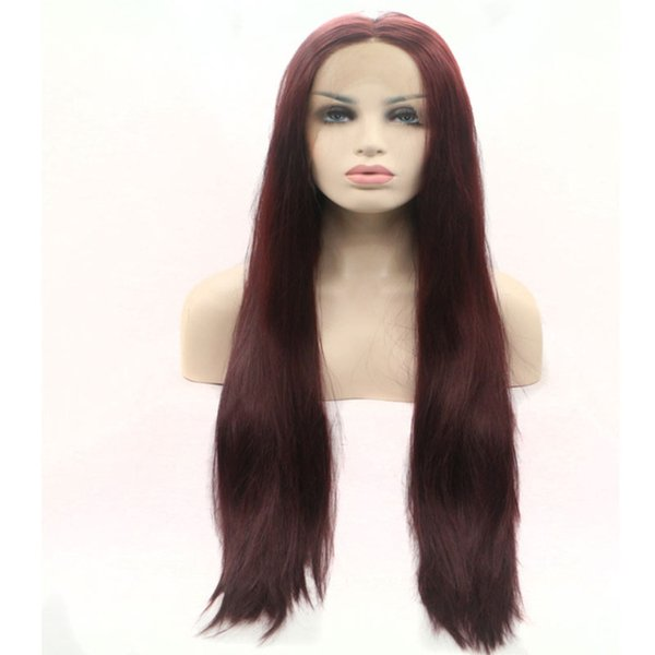 Burgundy Wig Synthetic Lace Front Glueless With Baby Hair 99j Burgundy Dark Wine Red Straight Heat Resistant Synthetic Wigs For Women