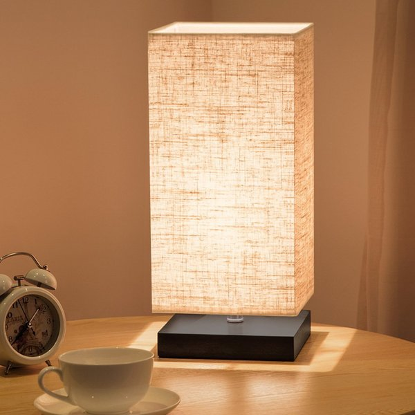Simple Table Lamp Bedside Desk Lamp With Fabric Shade and Solid Wood for Bedroom, Living Room, Baby Room, College Dorm, Coffee Table(square)
