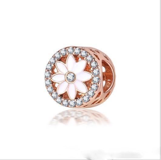 Fit Pandora Charm Bracelet Encantadora flor de loto Bead Granos de los encantos de plata europea DIY cadena de la serpiente para las mujeres joyería del collar del brazalete