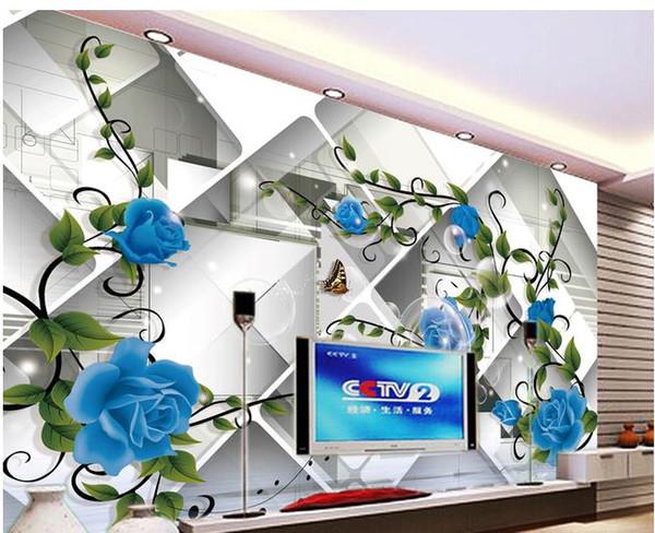Blaue Blumen einfache Hintergrundwand des Hintergrundes 3d, die moderne Wohnzimmertapeten malt