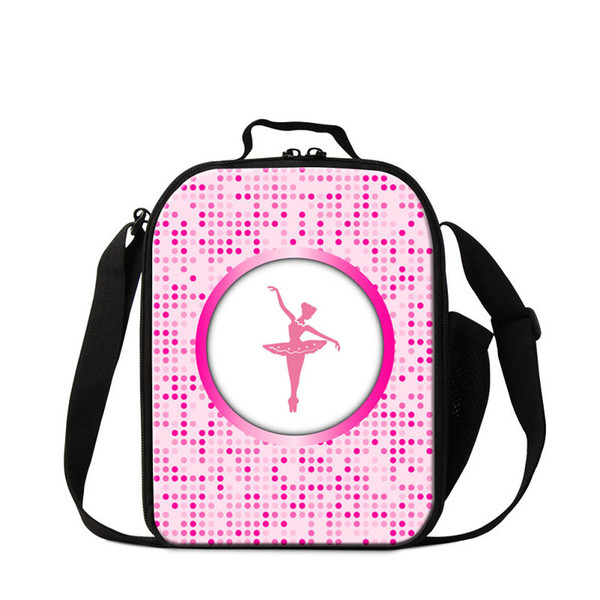 Cartoon Ballet Printing Students Meal Lunch Bag Women Portable Food Thermal Cooler Bags For Office Children Small Canvas Lunchbox For School