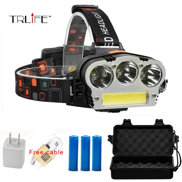 USB Rechargeable LED Headlamp 3*CREE XML-T6 COB Head Lamp 8000lums Waterproof Outdoor Lighting Headlight by 3*18650 battery