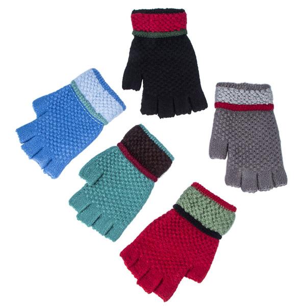 Fashion Adult Unisex gloves Elastic Stretch Half Finger Gloves Winter Warm Thicken Woolen Knitting Wrist Gloves