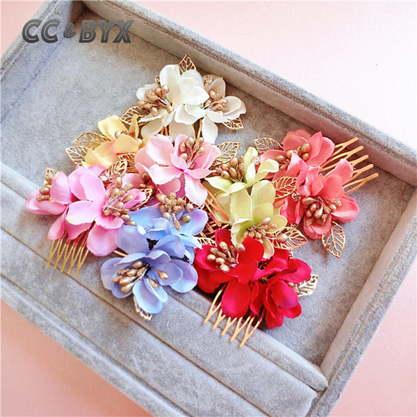 CC&BYX Hair Combs For Women Pretty Flower Gold Color Wedding Party Beach Handmade Girl's Hair Accessories Bridal Jewelry 3157