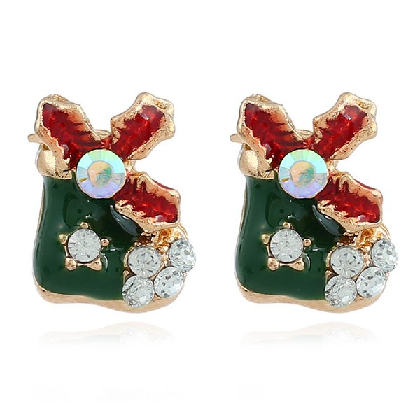 Joker Christmas Ornament.2018 Fashionable Christmas Ear Nail Earrings Europe And The United States Popular Christmas Ornament Joker Christmas Applicable Small Lovely Chil From