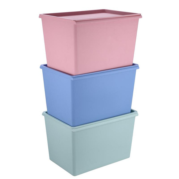 Stackable Plastic Storage Box with Lid Square Cloth Container Organizer