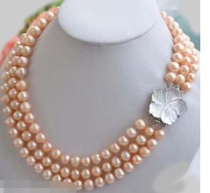 Бесплатный shippingnoblenew новый 3-рядный новый дизайн 7-8 мм натуральный Южно-Морской розовый жемчужное ожерелье 18-20