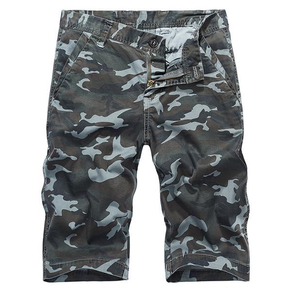 Camouflage Shorts Men Clothes 2018 Summer Cotton Army Cargo Shorts Men Safari Style Plus Size Knee Length khaki J315