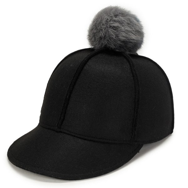 Pure Color Baseball Caps 2018 Winter Cap For Women Faux Fur Pompom Ball Cap Fitted Casual Snapback Hat