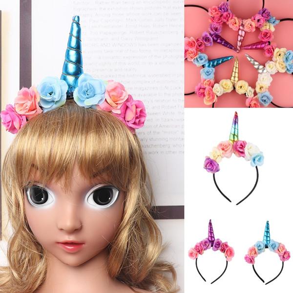 7 colores unicornio cuerno hairband niños unicornio diadema para el partido diy accesorios para el cabello flores banda para el pelo cosplay bebé palos de pelo