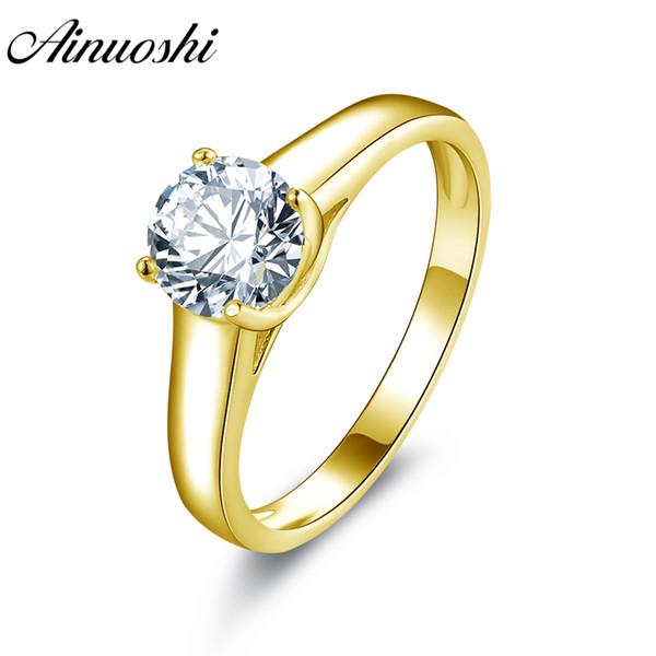 AINUOSHI 10k Solid Yellow Gold Wedding Ring Solitaire 1ct Simulated Diamond Joyeria Bridal Band Trendy Women Anniversary Rings S923