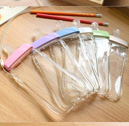 Milk Bottle case Nipple Shaped Silicone Case Baby Transparent Back Cover Strap For 4s 5 5s 6 6plus i7 i7plus