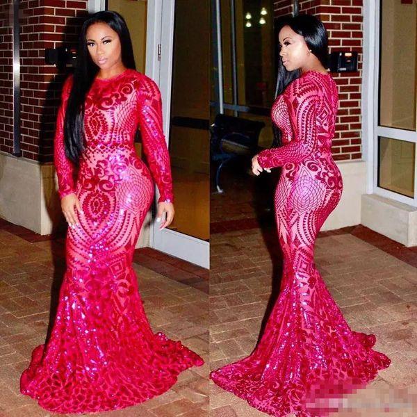 2018 Mermaid Fuchsia Prom Dresses Jewel Neck Long Sleeve Floor Length African Girl Lace Party Evening Wear Dress robes de soirée
