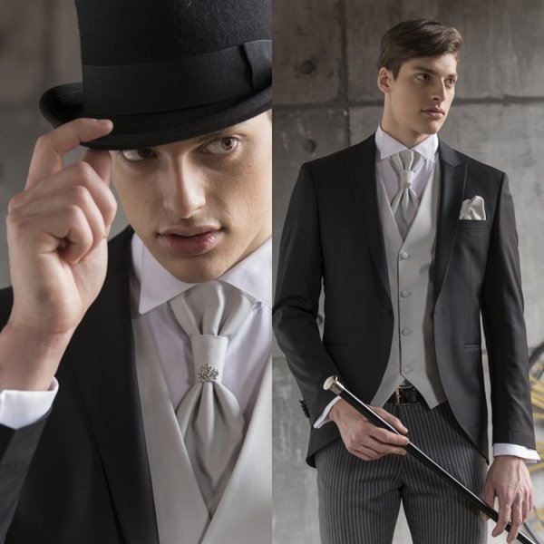 Custom Made Bridegroom Designer Clothing Set High Quality Black One Button Peaked Lapel Wedding Men Suits Three Pieces (Jackets+Pant+Vest)