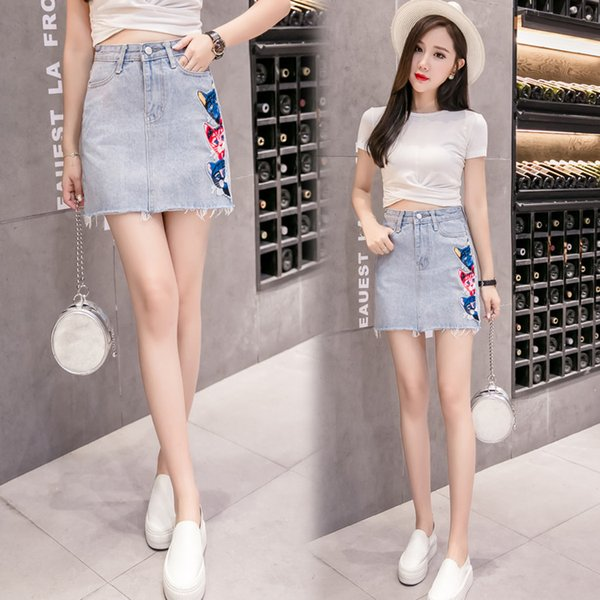2018 A-ligne Jupe Broderie D'été Nouvelle Coréenne Denim Jupe Courte Jupe En Jean De Mode Féminine Kitty Robe Applique