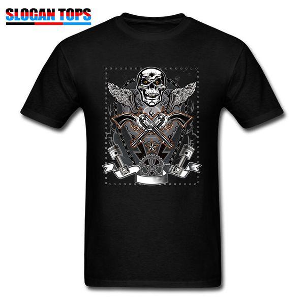 Men's Tshirts Punk Rock Skull T Shirt Print Men Punk Style Clothes Guns Movie Black T-shirt Short Sleeve Cotton Tops Tees Funky