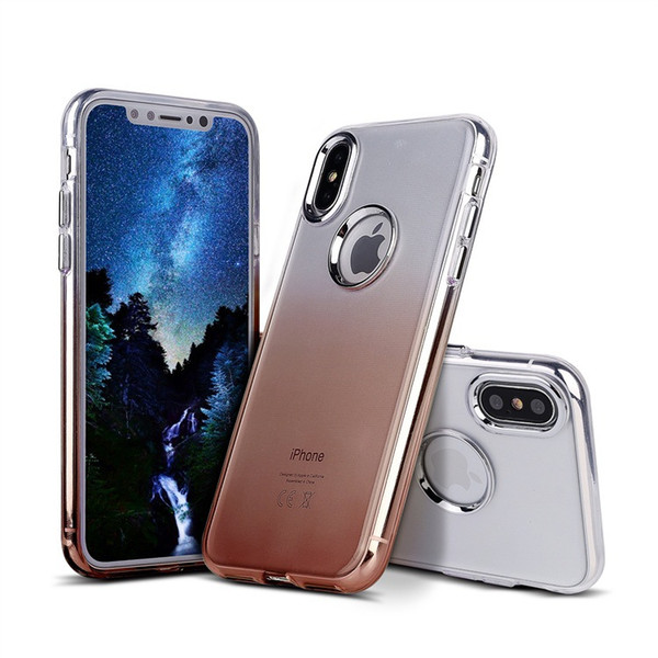 hot sale cell phone case ultra thin tpu pc hybrid metallic buttons color changing transparent back cover case for iphone X