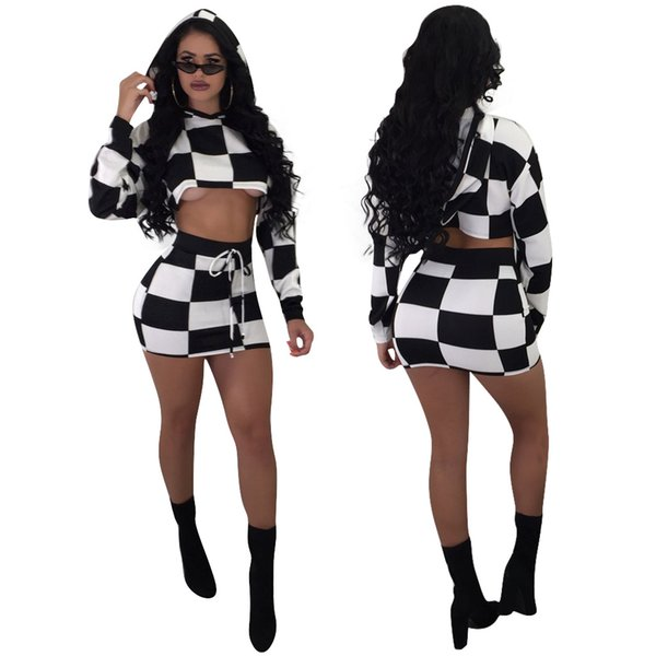 Sexy Short Skirts Women Casual Two-piece Dress Slim High Waist Bodycon Pencil Elastic Skirt Long Sleeve Tops Stretchy Skirt