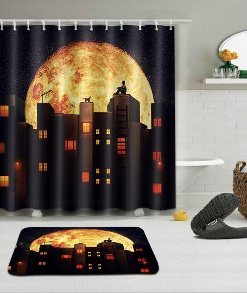 Night landscape pattern 3D Print Custom Waterproof Bathroom Modern Shower Curtain Polyester Fabric Bathroom Curtain Door mat sets
