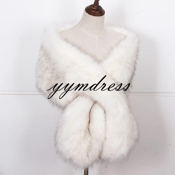 2019 New Warm Faux Fox Fur Bridal Shawl Fur Wraps Marriage Shrug Bride Winter Wedding Party Boleros Ivory Black White Factory Sale