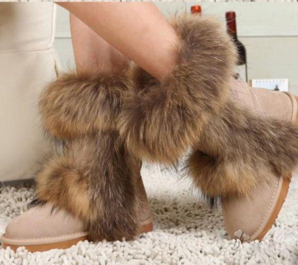2018 new hot sale Fox Fur Snow Boots Winter Wedding Shoes Red Waterproof Warm Shoes Leopard Botas Femininas