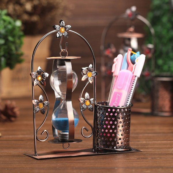 Free shipping metal desktop pen holder Desk Organizer with hourglass