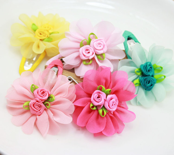 2018 Pet Cats Grooming Accessories Clips Dogs Chiffon Puff Flower BB clip Rose Flower Core Hair Clip 50pcs/lot