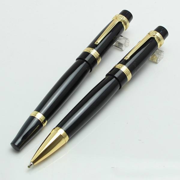 Nuevo llega Luxury Writers Edition de negro y oro Balzac Bolígrafo / rollerball con opción de caja de bolígrafos MB envío gratis