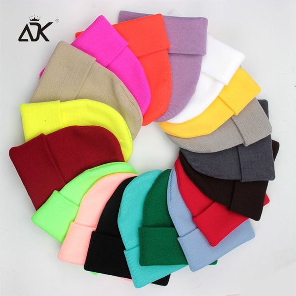 Women's Skullies Beanie Cuffed Hat Winter Acrylic And Cotton Beanie Candy Color Knitted For Girls Leisure Hat
