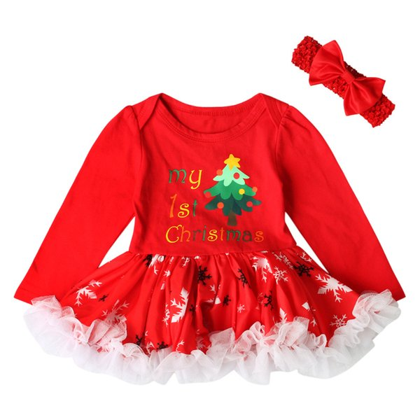 Baby Girls Lace Tutu Dress with Headband 2pcs Set Toddler Girls Red Long Sleeve Christmas Romper Dress