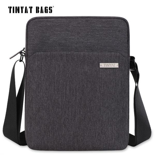 Bolso de hombro de los hombres TINYAT Multifuncional Hombre Messenger Bag para Ipad Phone Lienzo Sling Business Casual Maletín 512