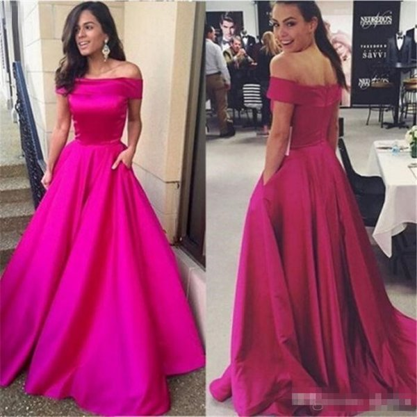 2017 Elegant Prom Dress Fuchsia Off Shoulder Short Sleeves Satin Floor Length A Line Formal Evening Party Wear Cheap Dress with Pockets