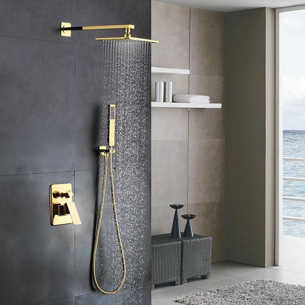 Золотая сплошная латунь Ванная комната Роскошная квадратная доска Смеситель для