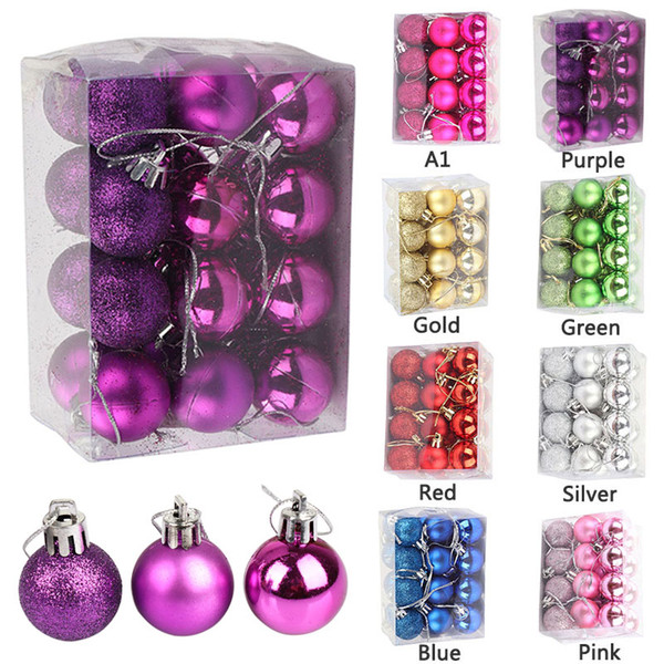 24pcs/lot 3cm Christmas Ball Tree Decor Bauble Hanging Xmas Party Ornament Decorations For Home New Year Decorations Supplies P2