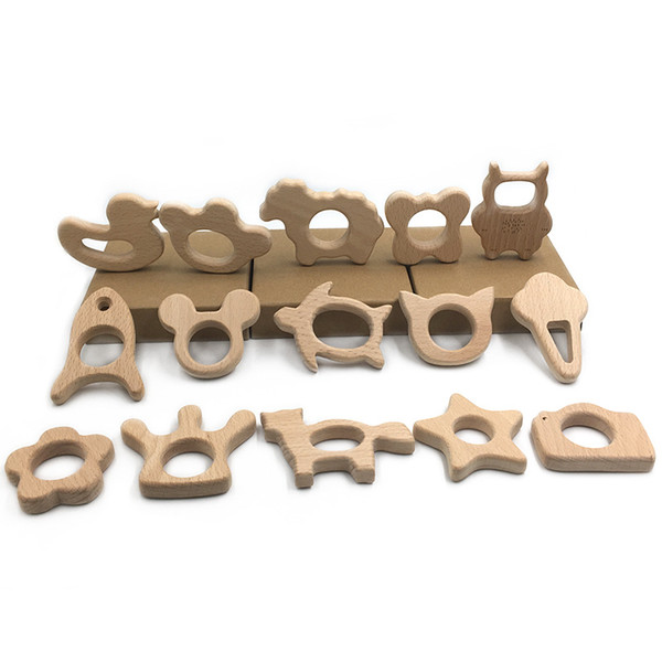 Wooden Teethers Nature Baby Teething Toy Organic Wood Teething Holder Nursing Baby Teether elephant animal Soothers Party Favor GGA1305