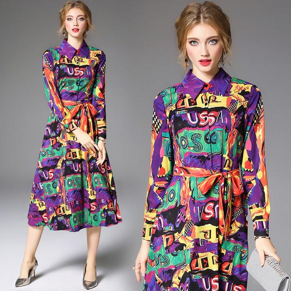 Robe élégante multicolore violet jaune vert graffiti alphabet impression manches longues robes midi pour les femmes parti soirée de bal soirée