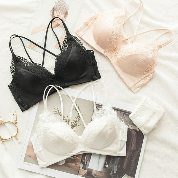 retro style lace beauty bralette and panties 3 colors push up gather breathing fashion underwear lingerie sets young girls sexy