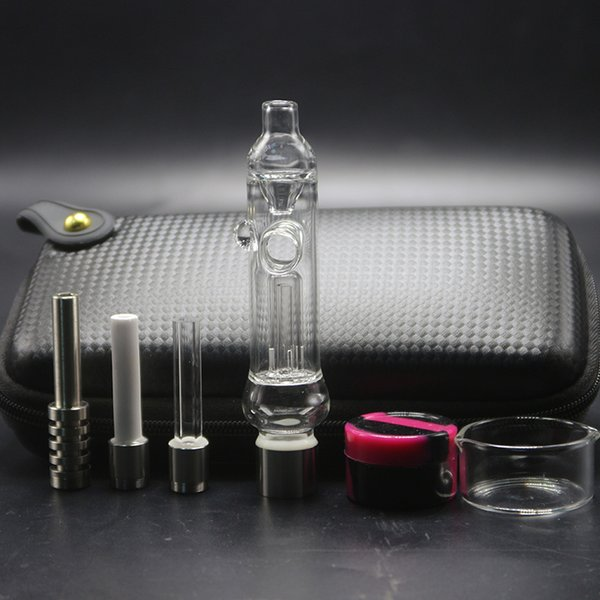 510 Clear Prevent Reflux Glass Pipe Bag Set With 510 Ceramic Quartz Titanium Nail Dab Rig Honey Straw Nector Collector Kit For Smoking
